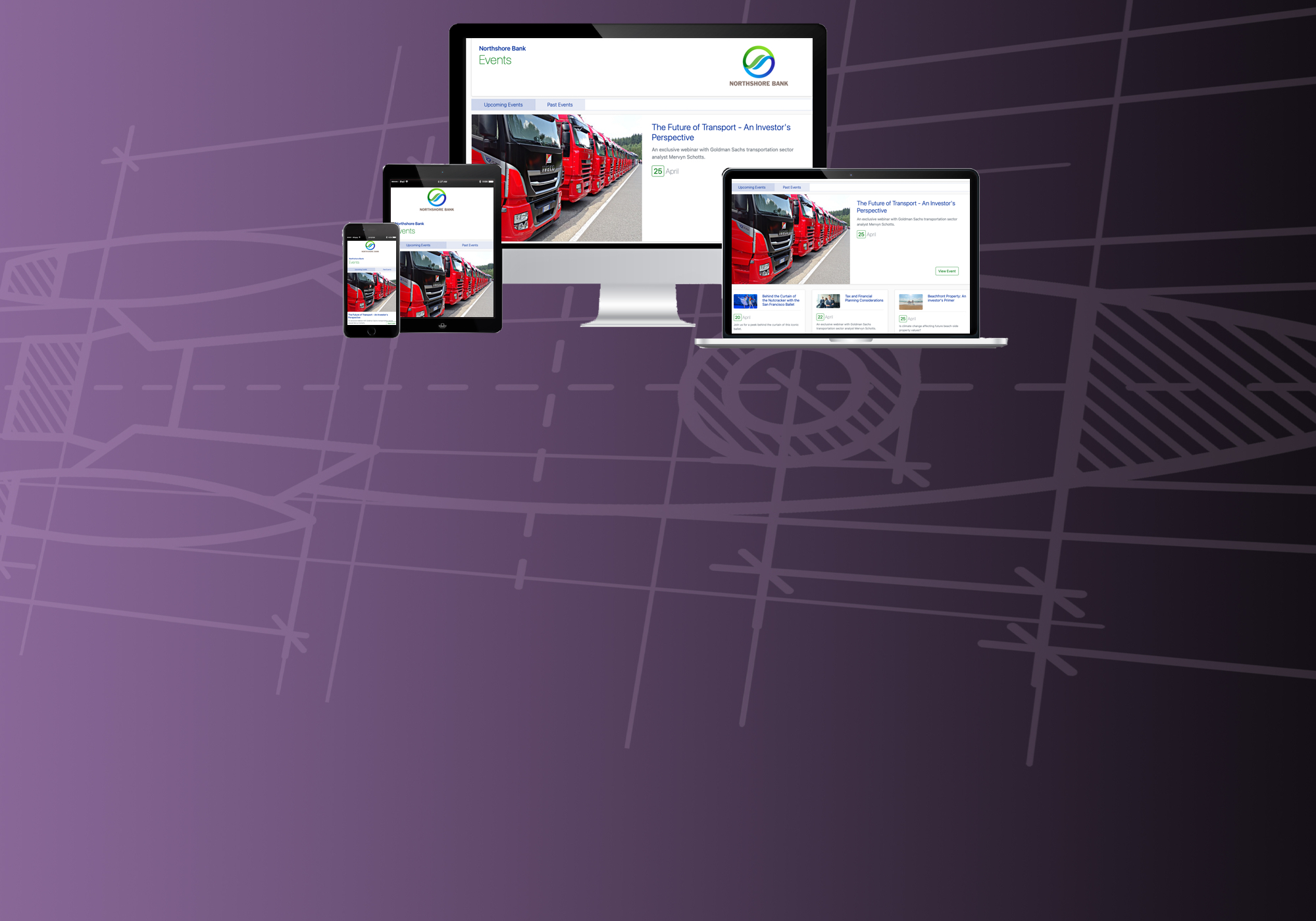 Mac, tablet and iphone displaying seatrobot event website