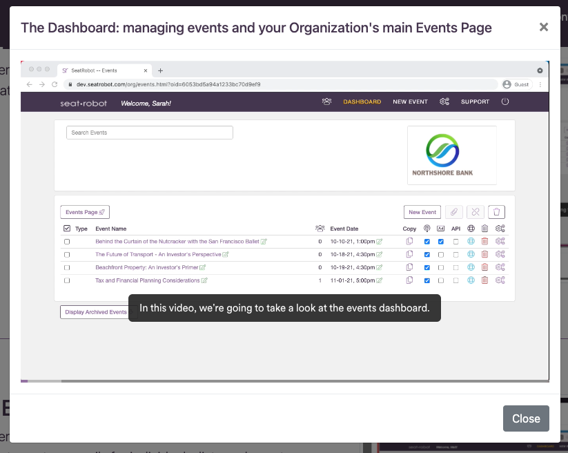 Click for Dashboard how-to video