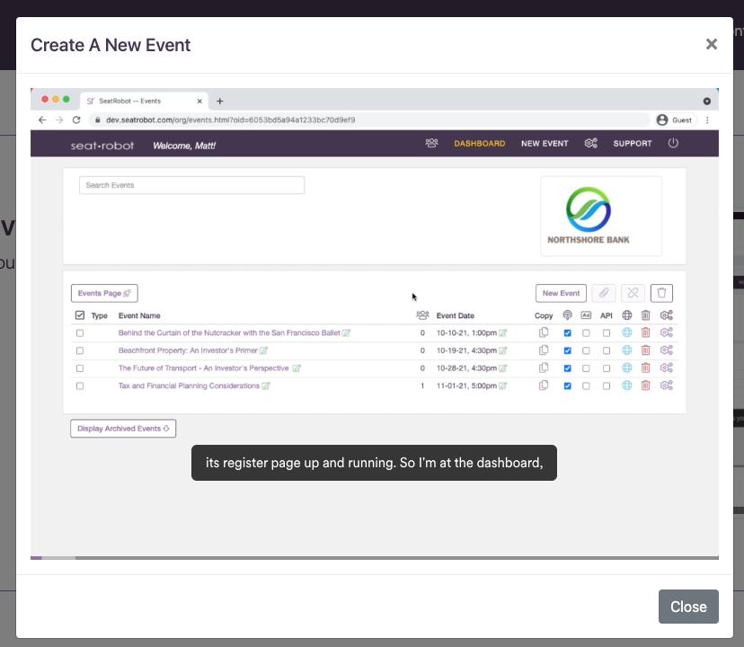 Click for event setup video